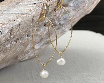 Large Keshi Pearl Dangle Earrings
