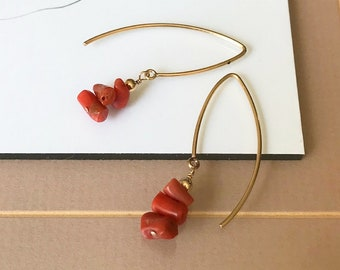 Natural Mediterranean Coral Earrings in Gold or Silver