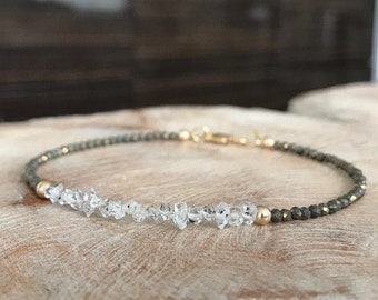 Gold Raw Herkimer Diamond Pyrite Bracelet