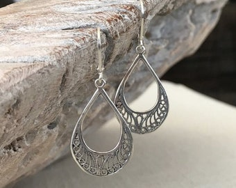 Small Silver Filigree Hoop Earrings