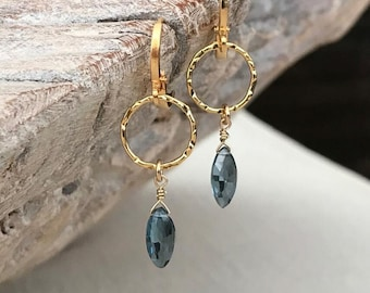 Dainty London Blue Topaz Dangle Earrings