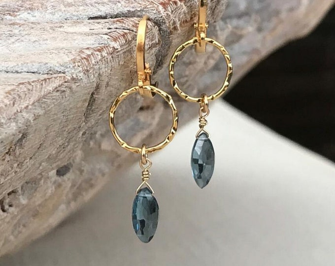 Featured listing image: Dainty London Blue Topaz Dangle Earrings