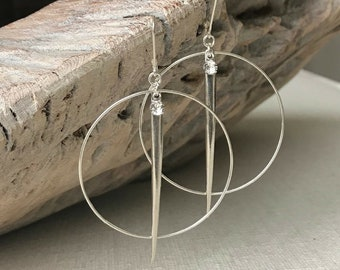Large Silver Spike Hoops