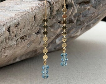 Long Aquamarine Swarovski Crystal Dangle Earrings