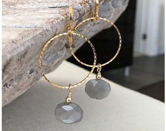 Gray Moonstone Hoop Earrings