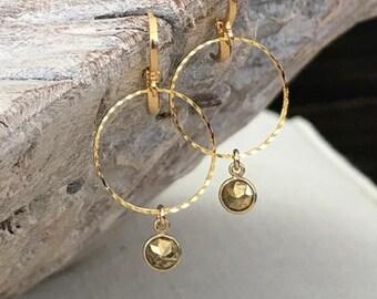 Gold Pyrite Dangle Hoop Earrings