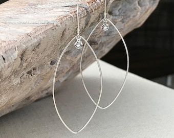 Large Silver Marquise Hoops