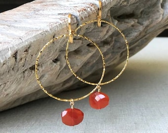 Large Carnelian Hoop Earrings in Gold or Silver