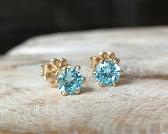 Aquamarine CZ Stud Earrings in Gold or Silver