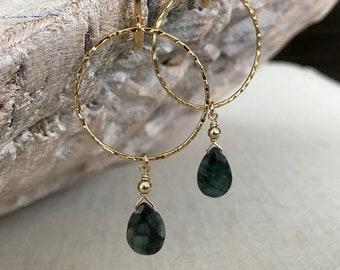 Emerald Dangle Hoop Earrings in Gold or Silver