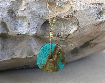 Genuine Turquoise Pendant Necklace