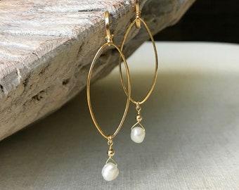 Medium Pearl Hoop Earrings in Gold or Silver