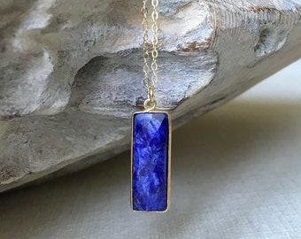 Silver Sapphire Pendant Necklace