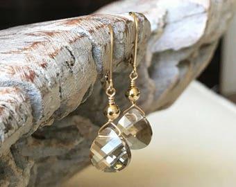 Champagne Crystal Earrings in Gold or Silver