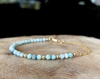 Dainty Larimar Bracelet in Gold or Silver