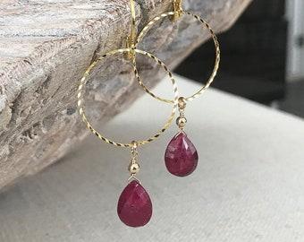 Genuine Ruby Drop Earrings in Gold or Silver