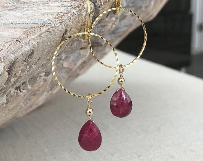 Featured listing image: Genuine Ruby Drop Earrings in Gold or Silver