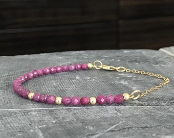 Ruby Bracelet in Gold or Silver