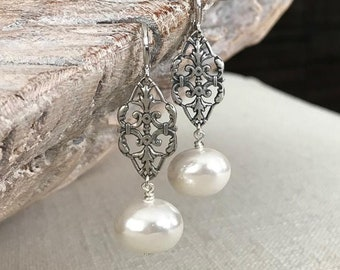 Long Pearl Filigree Earrings