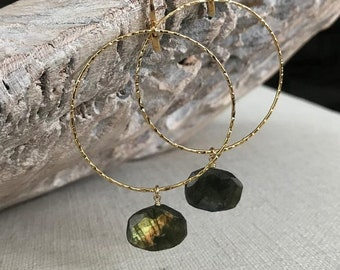 Large Labradorite Hoop Earrings