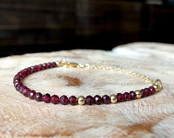 Dainty Garnet Bracelet in Gold or Silver