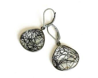 Silver Black Rutile Quartz Earrings
