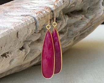 Long Gold Ruby Earrings