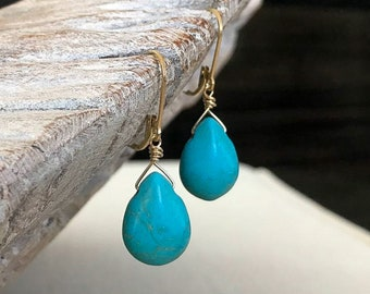 Turquoise Magnesite Dangle Earrings in Gold or Silver