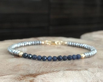 Sapphire and Silver Hematite Bracelet