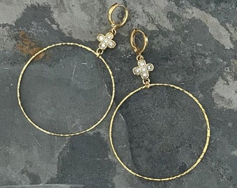 Large Gold Hoop Earrings with CZ Clover Charm