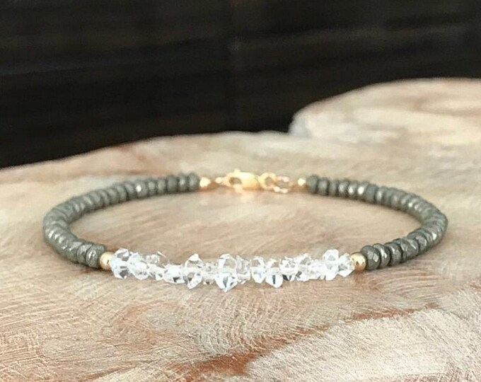Featured listing image: Gold Raw Herkimer Diamond Pyrite Bracelet