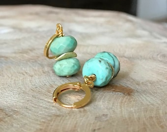 Moss Green Opal Earrings in Gold