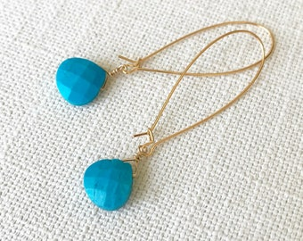 Turquoise Hoop Earrings in Gold or Silver