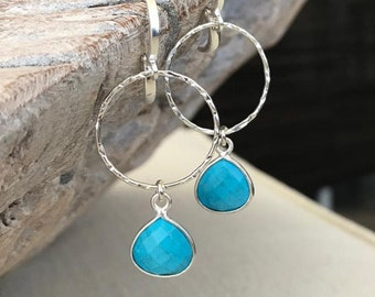 Silver Turquoise Hoop Earrings