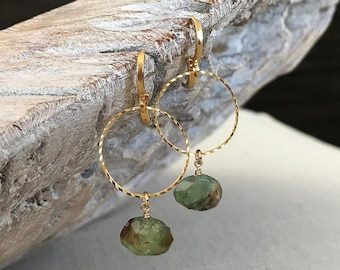 Medium Chrysoprase Hoop Earrings