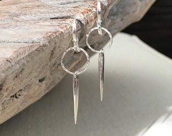 Small Silver Spike Earrings