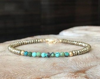 Turquoise & Pyrite Hematite Bracelet in Gold or Silver