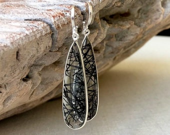 Long Silver Black Rutile Quartz Earrings