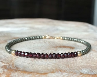 Gold Garnet and Pyrite Bracelet