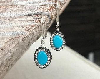 Small Sparkly Turquoise Earrings