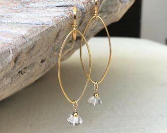 Herkimer Diamond Dangle Earrings Gold