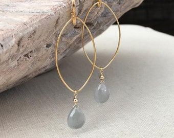 Large Moss Aquamarine Earrings Gold or Silver