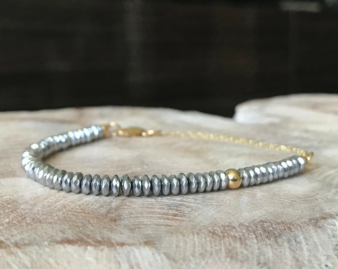 Featured listing image: Silver Hematite Bracelet in Gold or Silver