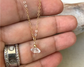 Tiny Raw Herkimer Diamond Necklace in Gold or Silver