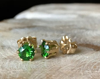 Emerald Green CZ Stud Earrings in Gold or Silver