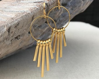 Gold Spike Statement Earrings
