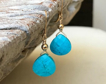 Turquoise Earrings Dangle, Silver or Gold Turquoise Dangle Earrings, Teardrop Turquoise Earrings, Turquoise Jewelry, Summer Earrings