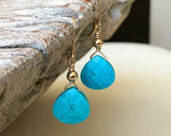 Turquoise Earrings in Gold or Silver
