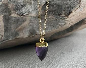 Small Gold Amethyst Arrowhead Necklace