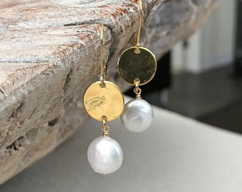 Gold Coin Pearl Earrings